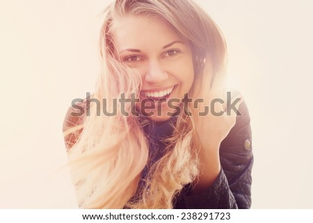 beautiful sunny portrait of a girl - stock photo