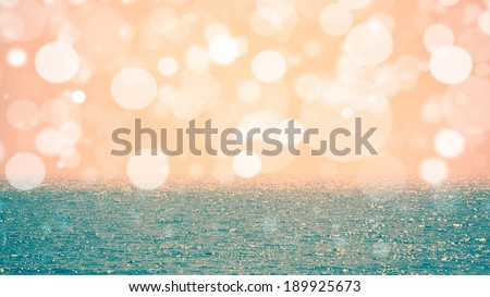 Beautiful sunny sea view, Blue sea and sky with bokeh - stock photo