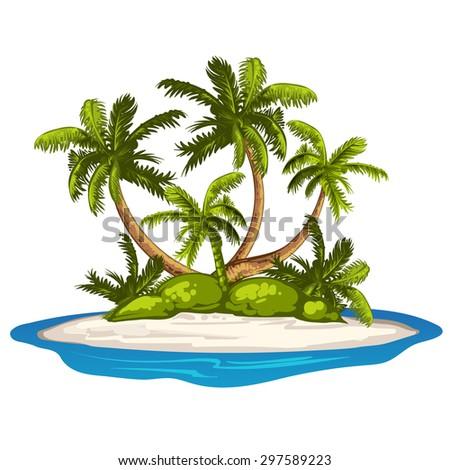 Beautiful sunny tropical beach on the island - stock photo