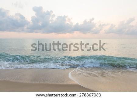 Beautiful sunrise and sea beach  - stock photo