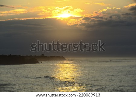 Beautiful sunrise at a beach in Pedasi, Panama - stock photo