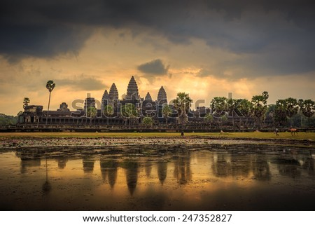 Beautiful sunrise at Ankor Wat, Siem Reap, Cambodia - stock photo