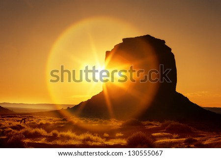 beautiful sunrise at Monument Valley, USA - stock photo