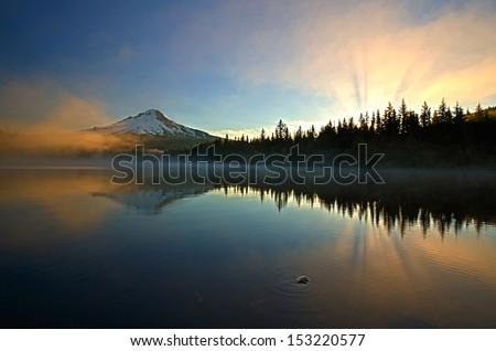 Beautiful Sunrise at Trillium Lake - stock photo