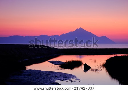 Beautiful sunrise in lake - stock photo