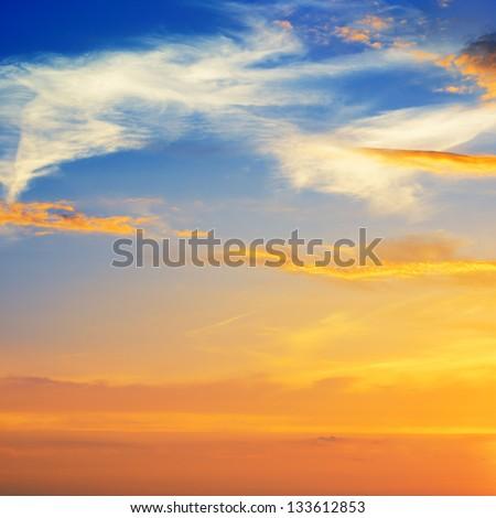 beautiful sunrise in the clouds - stock photo