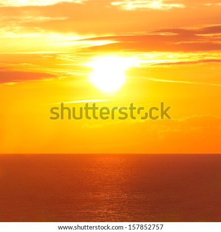 Beautiful sunrise in the sea - stock photo