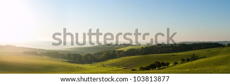 Beautiful sunrise over English countryside landscape in Summer - stock photo