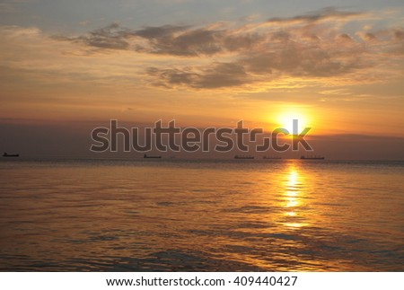 Beautiful sunrise over the Baltic sea in Poland - stock photo