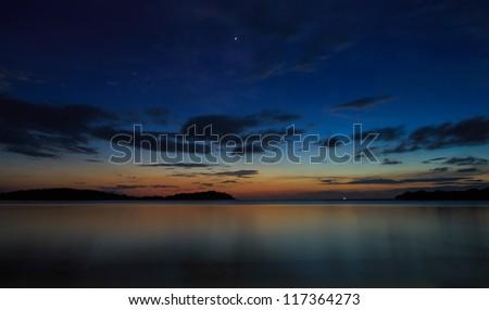 Beautiful sunrise over the sea,Samui,Thailand - stock photo