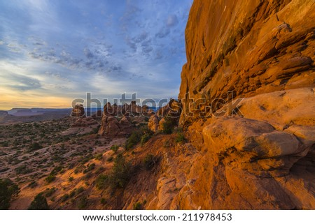 Beautiful  sunrise over The Windows Section Arches National Park Utah - stock photo
