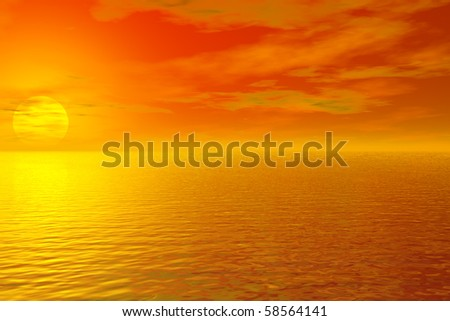 Beautiful sunrise over water rendered in Bryce. - stock photo