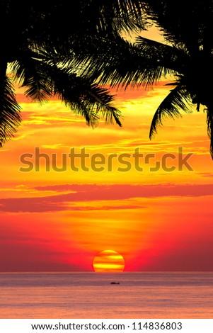 Beautiful sunset above the sea Patong, Phuket, Thailand - stock photo