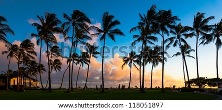 Beautiful sunset at a tropical beach in Kauai, Hawaii Islands. - stock photo