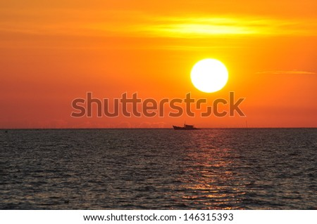 Beautiful sunset at the horizon - stock photo