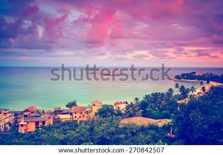 Beautiful sunset. Beach in Unawatuna, Sri-Lanka - stock photo