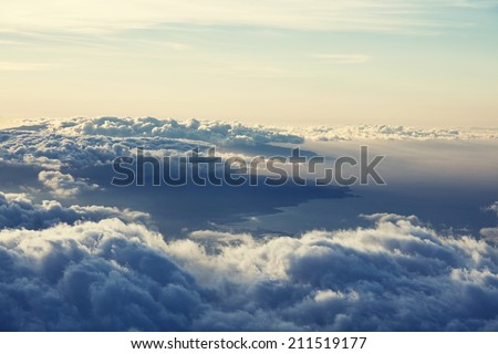 Beautiful sunset cloud and hill above - stock photo