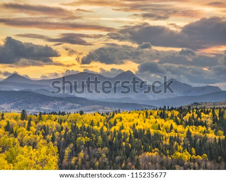 Beautiful sunset day over Mountains and a Valley - stock photo