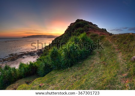 Beautiful sunset from the hill of Seger Beach,Lombok, Indonesia. - stock photo