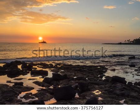 Beautiful sunset in Kailua-Kona on Hawaii Island. - stock photo