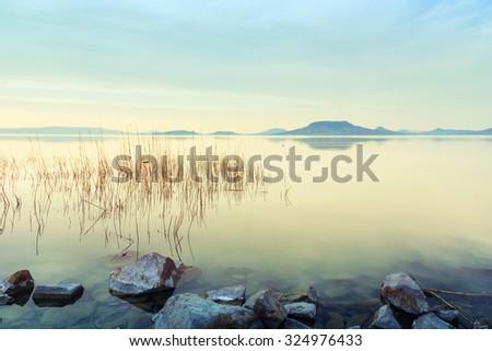 Beautiful sunset in lake Balaton-Hungary - stock photo