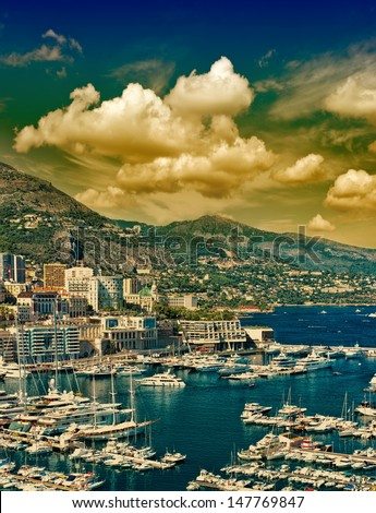 Beautiful sunset in Monaco. mediterranean landscape with dramatic cloudy sky - stock photo