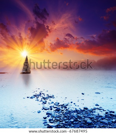 Beautiful sunset in the river. HDR image - stock photo