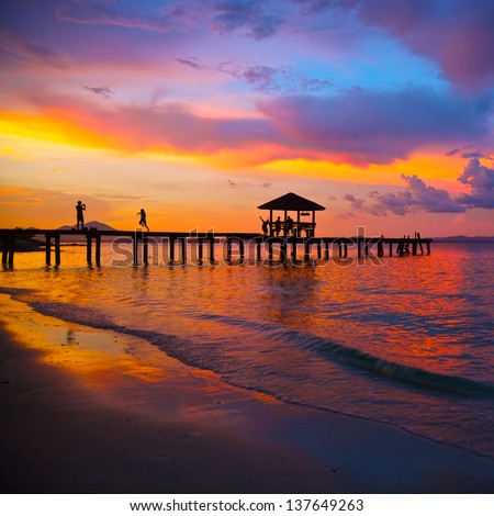 beautiful sunset in the tropical sea at summer time - stock photo