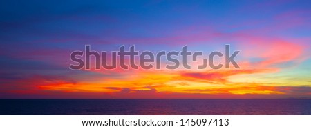 beautiful sunset in the tropical sea at summer time for banner background - stock photo