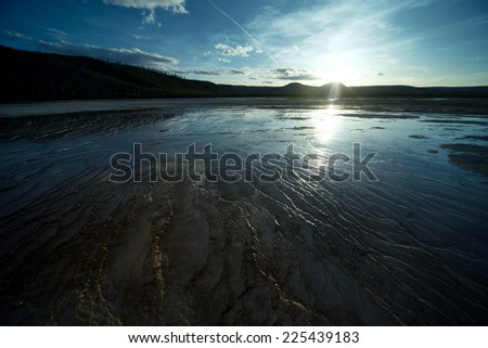 Beautiful sunset landscape. Yellowstone National Park - stock photo