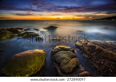 Beautiful Sunset of seascape in thailand  - stock photo