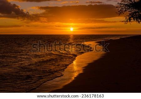 Beautiful sunset on a sandy beach in Mauritius - stock photo