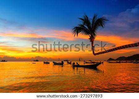 Beautiful sunset on the beach, Koh Tao, Thailand - stock photo