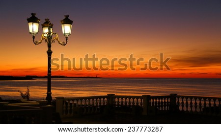 beautiful sunset on the town quay - stock photo