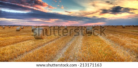 Beautiful sunset over a field with bales of hay. - stock photo
