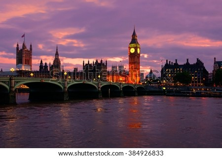 Beautiful sunset over Big Ben and the Parliament buildings, London, England - stock photo