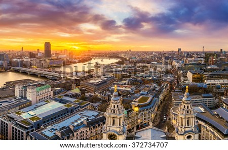 Beautiful sunset over central London with famous landmarks, shot from top of St.Paul's Cathedral - London, UK - stock photo