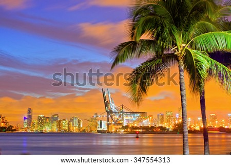 Beautiful sunset over  Downtown and the Port of Miami, beautiful colorful sunset skyline panorama with silhouettes of Palm trees - stock photo