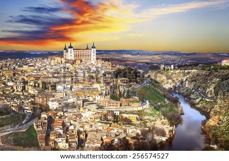 beautiful sunset over old Toledo, Spain - stock photo