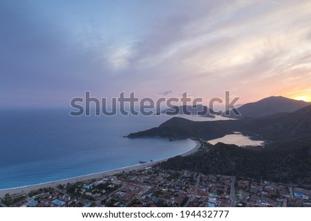 Beautiful sunset over Oludeniz, Fethiye - Turkey and twelve islands - stock photo