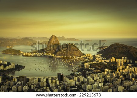 Beautiful sunset over Rio de Janeiro Botafogo Bay, Brazil - stock photo