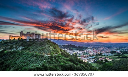 Beautiful sunset over the castle in Spoleto, Italy, Umbria - stock photo