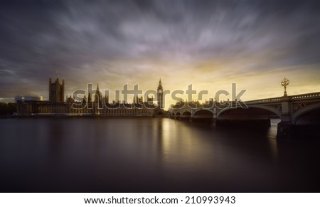 Beautiful sunset over the Houses of Parliament, London, UK - stock photo
