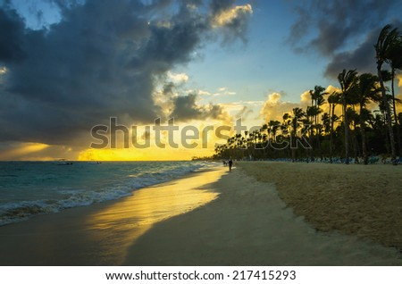 Beautiful sunset over the sea with a view at palms on the white beach on one of Caribbean Islands - stock photo