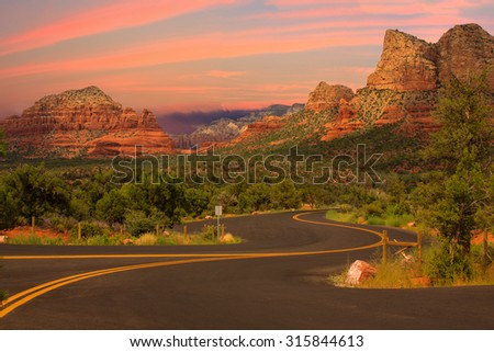 Beautiful Sunset Scenery of Sedona, Arizona - stock photo