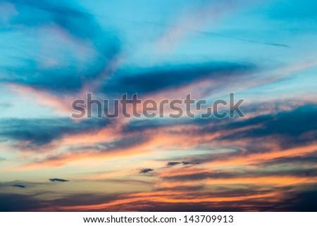 Beautiful sunset / sunrise sky with clouds - stock photo