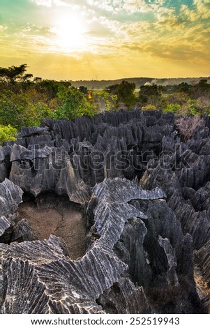 Beautiful sunset view over the unique landscape at the Tsingy de Bemaraha Strict Nature Reserve in Madagascar - stock photo
