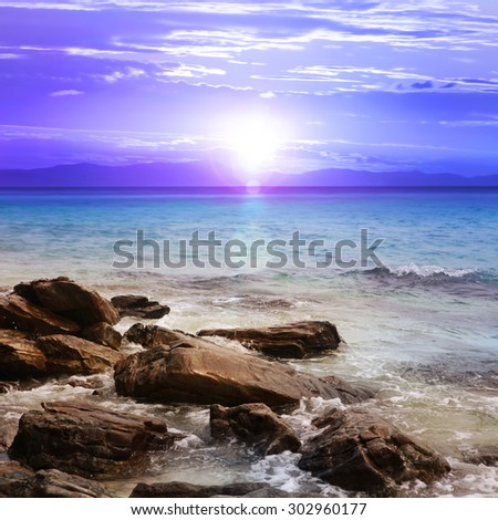 beautiful sunset with rocks, island of Thailand - stock photo