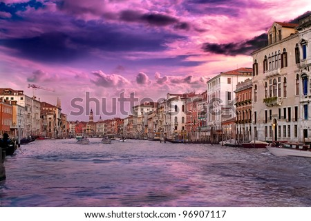 Beautiful sunset with vanilla sky over famous Grand Canal in Venice, Italy - stock photo