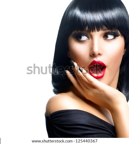 Beautiful Surprised Brunette Girl over White. Beauty Woman - stock photo